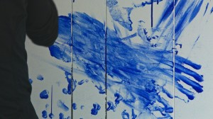 Blue on White Performance Painting